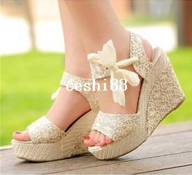 summer woman sandal for women wedges platform sandals high-heels shoes net fabric lace belt 550 - 836/Q5