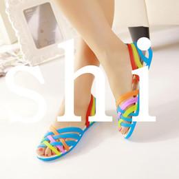Wholesale Colorful Platforms - 2014 Hole Shoes Women'S Colorful Open Toe Sandals Female Summer Sandals Flat Low Platform Sandals XG5-01