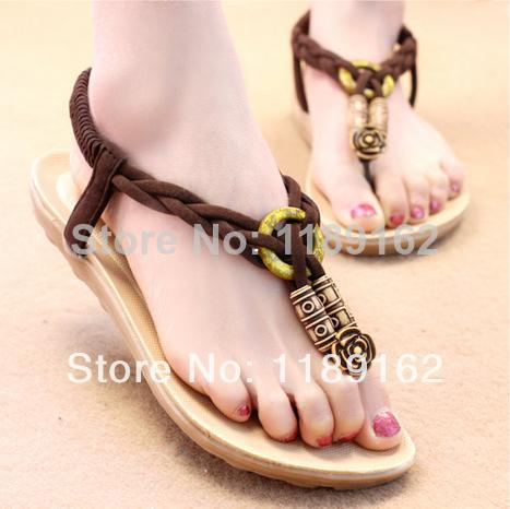Free Shipping 2014 new bohemian sandals thong sandals flat shoes Korean women 35-40