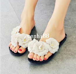 Wholesale Melissa Shoes Beach Jelly - Free Shipping 2014 new Melissa jelly camellia sandals flip-flops summer shoes flat flat cool beach slippers women size 35-40