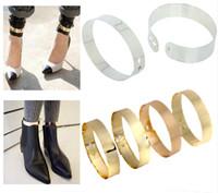 Wholesale Golden Bracelet Cuff - Fashion Punk Golden Flat Mirror Metal Anklet Ankle Foot Cuff Bracelet Bangle Ring Free Shipping [B631*6]