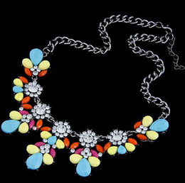 yellow statement fashion necklaces NZ - 20% off Fashion Bib Choker Necklace Fluorescence Yellow Colors Crystal Gem Flower Drop For Women Statement Necklace [JN06148*1]