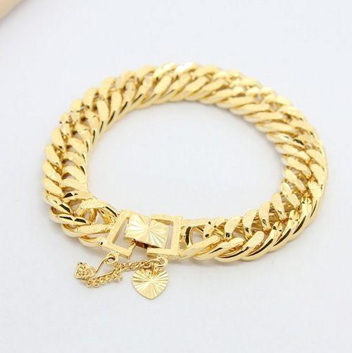 2019 24k Gold Plated Imitation Gold Bracelet Men Men