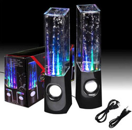 Wholesale Iphone Water Fountain Speakers - LED Dancing Water Show Music Fountain Light Mini Computer Speakers x 2 For Laptop iPhone iPad iPod PC 2 in 1 USB mini Colorful Water-drop