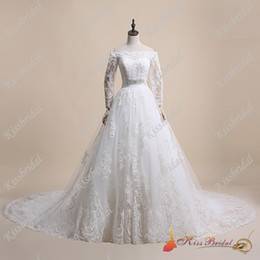 Venta al por mayor de Fascinantes mangas largas Vestidos de novia de encaje Cristales Botones cubiertos Cintas de satén con cuentas Tren de la corte Vestidos de novia