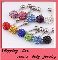Wholesale Crystal Piercing Ball - Crystal Disco Ball Ferido Belly Bar Navel Belly Button Ring Shamballa Belly Ring Piercing jewelry 10mm