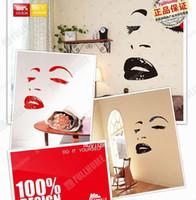 calcomanías de marilyn monroe al por mayor-Creativo 3D Marilyn Monroe Etiqueta engomada del espejo DIY Diversión Etiqueta de la pared Sticker Sofa TV Backgroud Etiqueta de la pared Regalo increíble para los niños, Sweethome123
