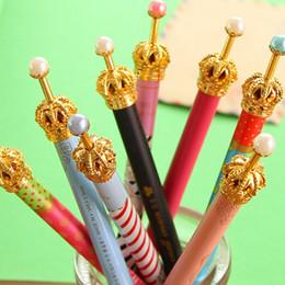 Wholesale Wholesale Pens Pads - pen gel pen Korea stationery cute Crown metal design Gel Pen Pad 0.5mm Black Ink Creative Pens Children's Gifts