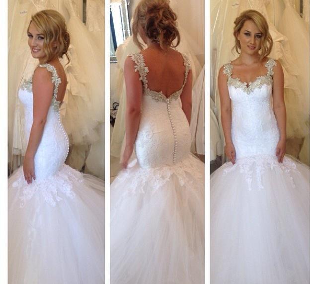Vestido de Noiva Custom Made 2019 Nya Ankomst Sweetheart Straps Crystal Mermaid Lace Bröllopsklänningar Brudklänningar