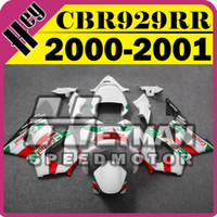 Wholesale Honda Cbr929rr Fairing Red Injection - Heymanspeedmotor Aftermarket Injection Mold Fairing For Honda CBR900RR929 CBR 900 RR 929 2000 2001 00 01 Green Red White H90H14+5 Free Gifts