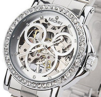 Wholesale Watch Mouse - Free shipping Wilon Ladies' Watch Mickey Mouse Mechanical Hollow Diamond Wristwatch for Ladies WL01