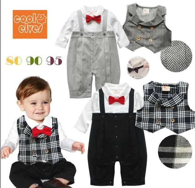 Compre Infant Baby Boy Gentleman Mameluco De Una Pieza Con Chaleco A Rayas  A Rayas Niño Corbata De Lazo Rojo Juego De Monos De Arrastre Monos De Niños  A ... 9a5e55e456e