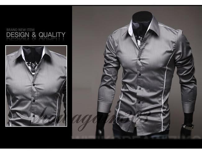 H79 جديد رجالي فاخر عادية سليم صالح أنيق اللباس قمصان 3 ألوان 5 الحجم