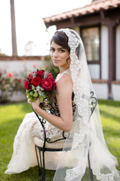 Wholesale Mantilla Veil Champagne - Cream wedding veil, Champagne bridal veil, Cathedral lace veil Mantilla, Edge Lace EM02286