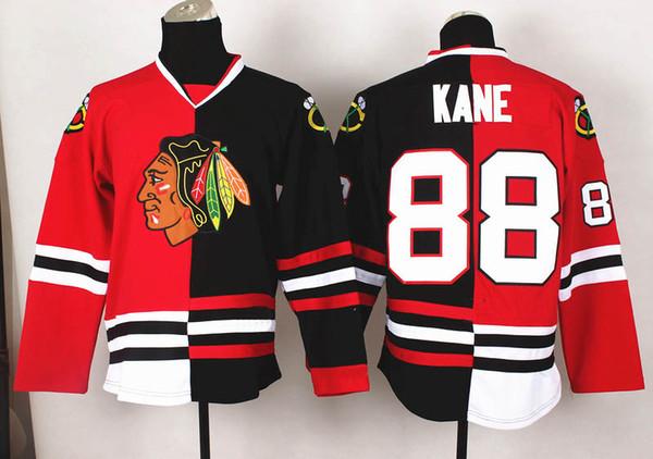2014 New Blackhawks #88 Patrick Kane Red And Black Split Hockey Jerseys  Name Number Embroidered
