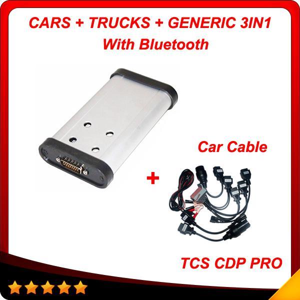 2015.3 Nuevo diseño de cdp + pro + cables de auto Herramienta de diagnóstico de auto caliente tcs cdp pro plus 3in1 con Bluetooth envío gratis