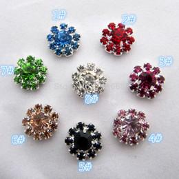 Wholesale Craft Metal Embellishment Flowers Wholesalers - 100pcs lot 12MM flower metal rhinestone button multi colors wedding embellishment crafting DIY accessory factory direct