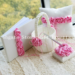 Wholesale Silk Wedding Guest Book - Wedding Ceremony Accessories Pink Flower Basket Silk Ribbon Guest Book Pen Set Ring Pillow Free Shipping