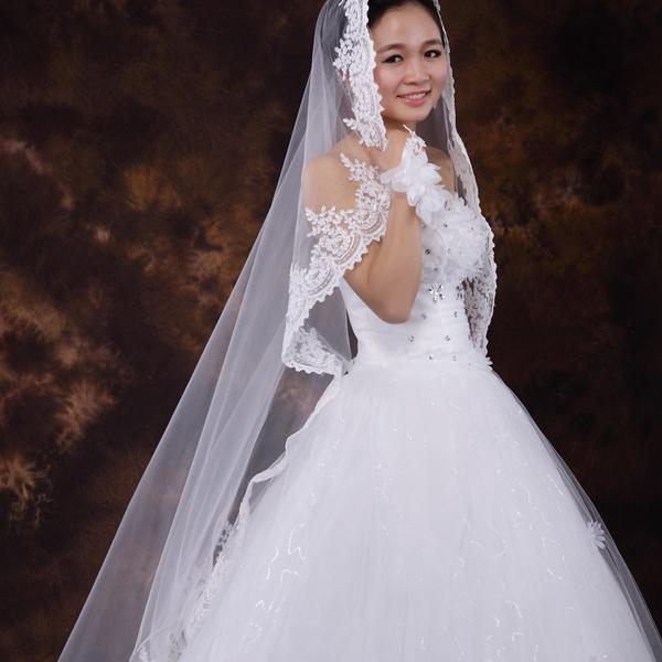 Actual Picture White Weding Dress Veil One Layer Lace Edge Bridal Veil Blusher Veils For Brides Fingertip Bridal Veil Ivory Available
