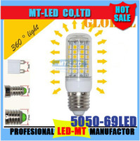Wholesale Led Bulb Rgb E27 15w - free sipping E27 E26 E14 GU10 G9 LED Light Corn Bulb 5050 SMD 15W 69 LEDs 1450LM With Cover 360 degree Maize Lamp Cool Warm White 110V-240V