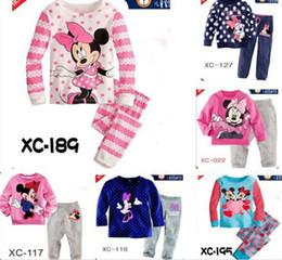 Wholesale Kids T Shirt Cartoon Designs - 6 sets lot baby girl's minine mouse dot striped pajamas suit children cartoon pyjamas kids sleepwear Girls homewear T-shirts Pants 10 Design