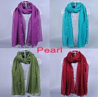 Wholesale Purple Glitter Scarf - NEW DESIGN ladies printe solid color peral bead plain cotton voile glitter shawls long hijab muslim scarves scarf 10pcs lot