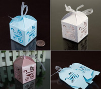 Wholesale Baby Day Out Candy - 100pcs lot Laser Cut Baby Day Out Candy Box Birthday Gift Box Baby Shower Favors Wedding Party Gift Box Wedding Boxes with Ribbon 3 Colors
