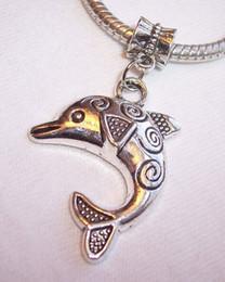 Wholesale Dolphin European Charms - 80pcs Filigree Dolphin Beach Ocean Life Dangle Bead for Silver European Charm Bracelet 43x22mm