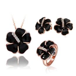 Wholesale Rose Gold Pendant Light - Best Gift Plated 18K Gold Black White Rose Flower Pendant Necklace Stud Earrings Rings Set Fashion Elegant Wedding Jewelry Set