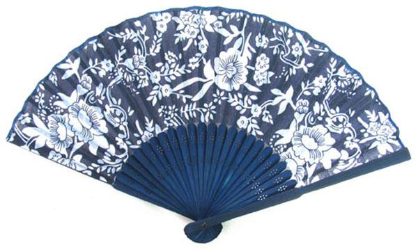Collapsible Chinese Blue bamboo fan silk hand fan craft home decor gift high quality