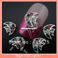 ingrosso pesca artista di metallo-All'ingrosso-YNB426 glitter strass strass argento metallo 3d decorazione unghie artistiche charms forma di pesce charms nail forniture 50pcs all'ingrosso