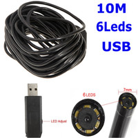 Wholesale Endoscope Ip66 Waterproof - IP66 Waterproof 7mm USB Inspection Borescope Endoscope Snake Scope 6pcs LED 10m Tube Micro Camera Security Mini CCTV Cameras H11075