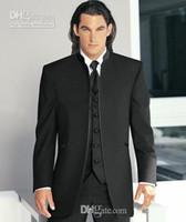 gradas por encargo al por mayor-Nuevo Custom Made Black Stand Collar Novio Smokings Mejor Hombre Boda Padrino de boda Hombres Trajes de boda Novio (Jacket + Pants + Tie + Vest) F9