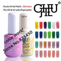 Wholesale Gradient Nail Polish - Wholesale-free shipping 6 pcs High quality ChuJie Brand Nail Art Polish LED UV Gel 15ml 220 Colors Available Soak Off UV Gel Polish