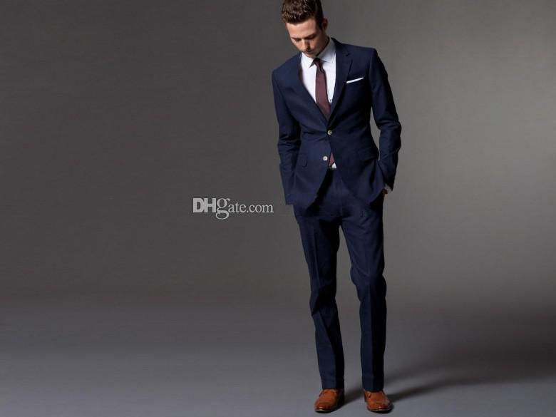 Latest Design Two Buttons Navy Blue 2015 Groom Tuxedos Notch Lapel ...