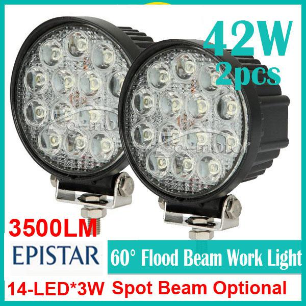 "2PCS 4.5"" 42W 14LED*3W Driving Work Light Epistar Round SUV ATV Off-Road 4WD 4x4 Spot / Flood Beam 9-32V 3500lm Truck Trailer Fog Headlamp"