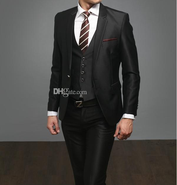 New Style Side Slit Slim Fit Groom Tuxedos Black Best Man Notch ...