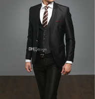 ingrosso pantaloni neri fessure-New Style Side Slit Slim Fit Smoking dello sposo formale Nero Best Man Notch Lapel Groomsman Uomo Abiti da sposa Bridegroom (Jacket + Pants + Vest)