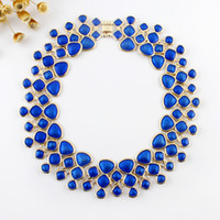 Wholesale Bubble Bib Fashion - Fashion Designer Jewelry Blue Enamel Bubble Bib Statement Necklace Shorts Women Wholesale