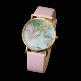 Wholesale Geneva Student Watches - 2015 geneva leather World Earth Map Women fashion quartz unisex ladies men dress popular students watches