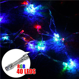 Battery Operated Fairy Lights Purple Canada - 40 LED String Mini Fairy Strip Lights 3XAA Battery Power Operated White Warm White Blue Yellow Green Purple Christmas Lights Christmas Light
