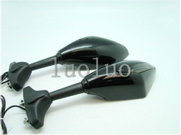 Wholesale Zx6r Led Turn - Freeshipping LED Turn Signals Integrated Mirrors for Kawasaki Ninja 250R 500 EX ZX6R ZX7 ZX9