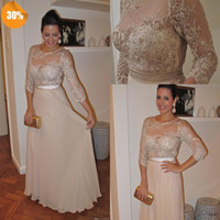 Wholesale Light Purple Chiffon Material - Plus Size Sheath 3 4long Sleeve Scoop With Intricate Handmade Flowers In Lace Material Formal Party Cocktail Prom Evening Dresses