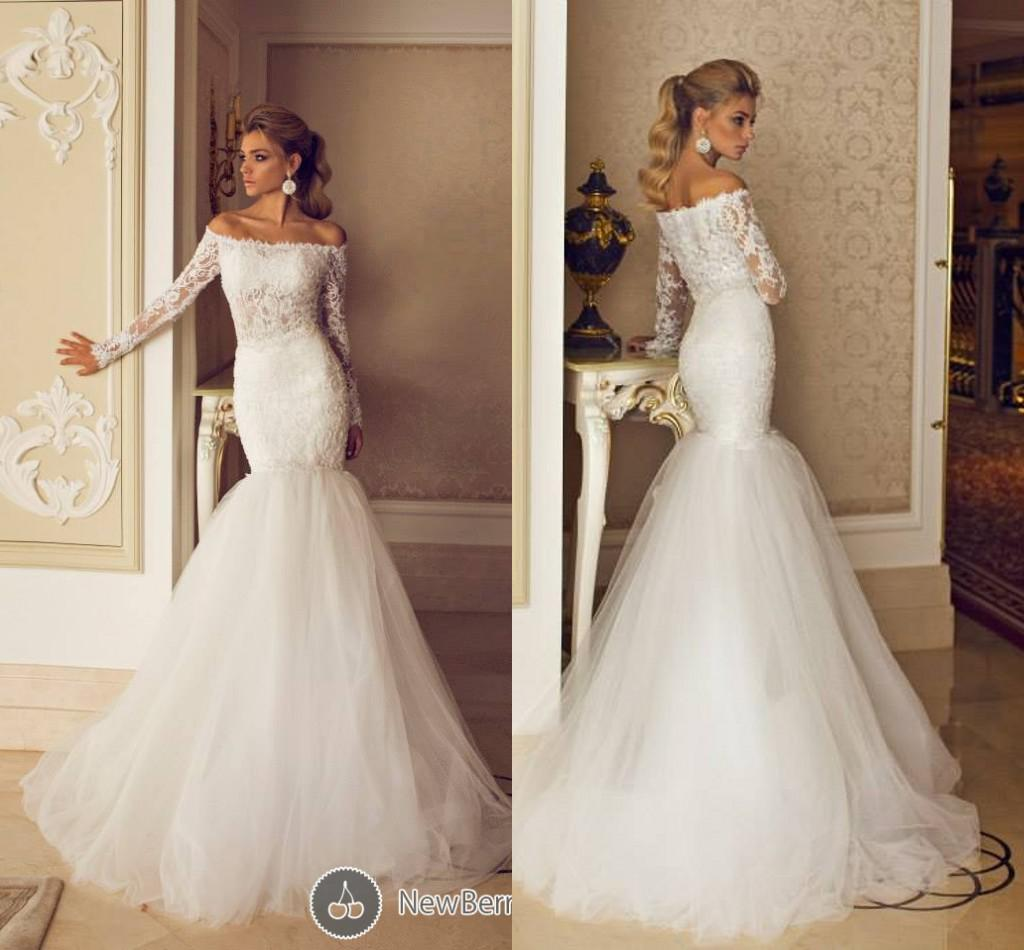 Luxury Dimitrius Dalia Off Shoulder Sheer Lace Corset Wedding Dresses Mermaid Garden Puffy Tulle Bridal Gowns With Long Sleeves Dl1312597 In