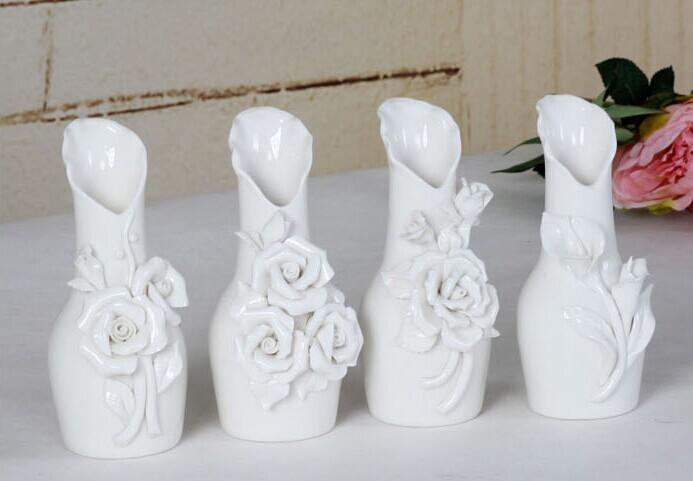Beautiful Rose flower White Ceramics Vases Artifical Flower Vase Ostrich Feather Vase for wedding party home decoration