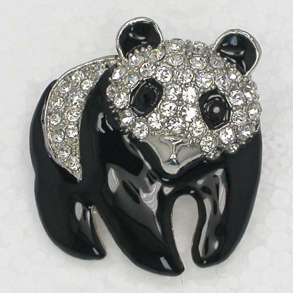 Wholesale Clear Crystal Rhinestone Enameling Panda Pin Brooch Fashion jewelry gift C924