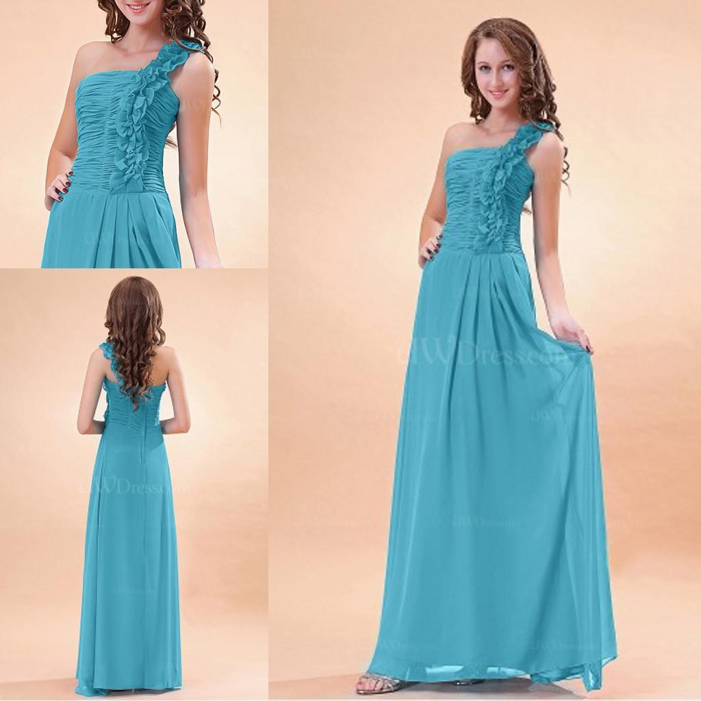 Jade One Shoulder Ruched Long Chiffon Bridesmaid Dresses Fast ...