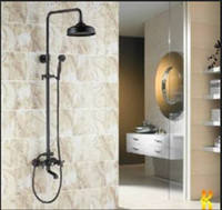 "Wholesale bronze shower faucets - Luxury Oil Rubbed Bronze Bath Shower Faucet Set 8"" Rain Shower Head + Hand Shower Spray"