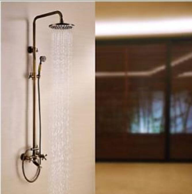 Wall Mounted Antique Brass Rain Shower Faucet Dual Handles Bathtub Mixer Tap