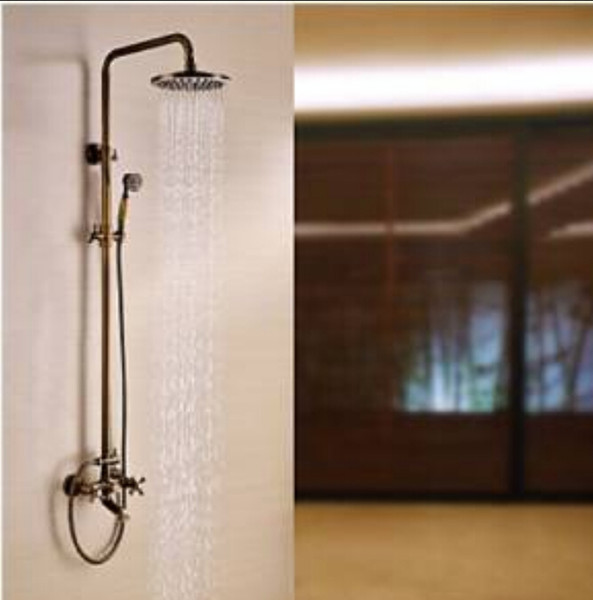 Wall Mounted Antique Brass Rain Shower Faucet Dual Handles Bathtub Mixer Tap